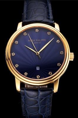 Patek Philippe Calatrava Date Blue Guilloche Dial Gold Case Blue Leather Strap Aaa Grade Patek Philippe Replica