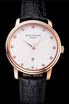 Patek Philippe Calatrava Date White Dial Rose Gold Case Black Leather Strap Aaa Grade Patek Philippe Replica