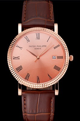 Patek Philippe Calatrava Rose Gold Dial Roman Numerals Ribbed Bezel Rose Gold Case Brown Leather Strap Aaa Grade Patek Philippe Replica