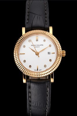 Patek Philippe Calatrava White Dial Diamond Hour Marks Double Ribbed Bezel Gold Case Black Leather Strap Aaa Grade Patek Philippe Replica