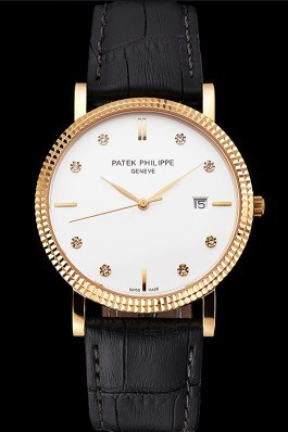 Patek Philippe Calatrava White Dial Diamond Hour Marks Ribbed Bezel Gold Case Black Leather Strap Aaa Grade Patek Philippe Replica