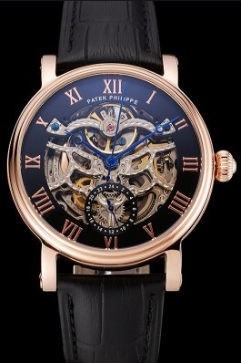 Patek Philippe Grand Complications Black Skeleton Dial Rose Gold Case Black Leather Strap 1453809 Fake Patek Philippe