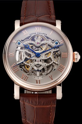 Patek Philippe Grand Complications Gray Skeleton Dial Rose Gold Case Brown Leather Strap 1453807 Fake Patek Philippe