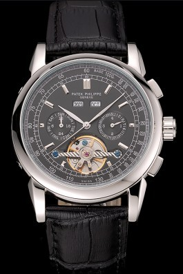 Patek Philippe Grand Complications Stainless Steel Case Black Dial Black Leather Bracelet 622258 Fake Patek Philippe