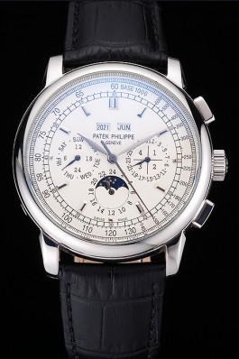 Patek Philippe Grand Complications White Dial Black Leather Bracelet Fake Patek Philippe