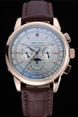 Patek Philippe Grand Complications White Dial Brown Leather Bracelet Fake Patek Philippe