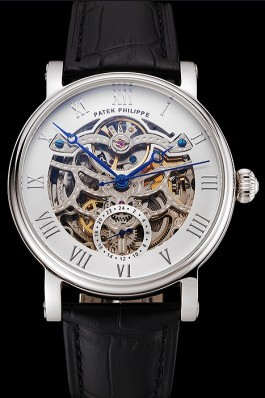 Patek Philippe Grand Complications White Skeleton Dial Stainless Steel Case Black Leather Strap 1453810 Fake Patek Philippe