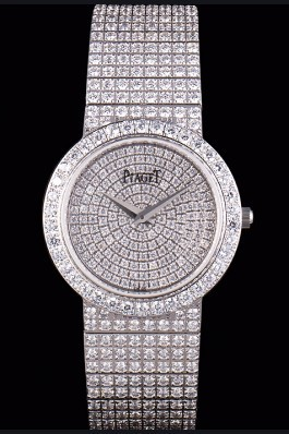 Replica Piaget Swiss Limelight Diamonds Encrusted Stainless Steel Watch 80297