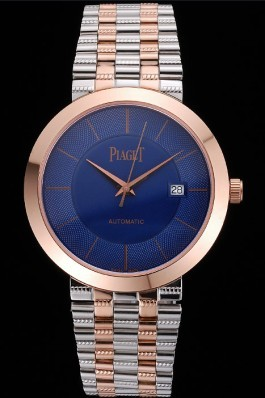 Replica Piaget Traditional Blue Dial Gold Case Two Tones Stainless Steel Strap