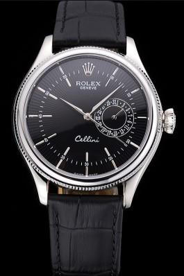 Rolex Cellini Black Dial Stainless Steel Case Black Leather Bracelet 622724 Replica Rolex