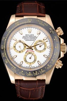 Rolex Cosmograph Daytona Gold Case White Dial Brown Leather Bracelet 622633 Rolex Daytona Replica