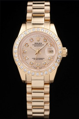 Rolex Datejust 18k Yellow Gold Plated Stainless Steel Diamond Plated 98077 Replica Rolex Datejust