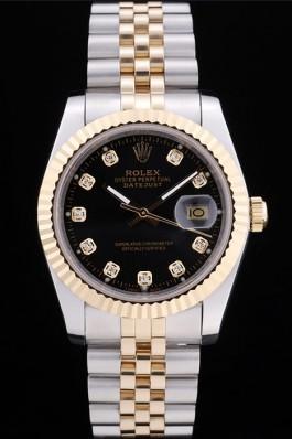Rolex Datejust Black Dial Diamonds Ribbed Bezel 7453 Replica Rolex Datejust