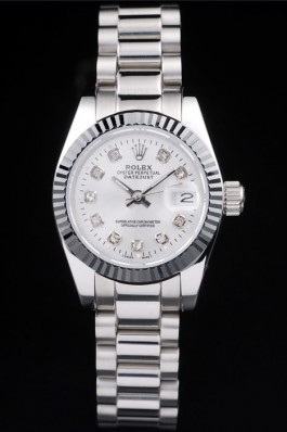 Rolex Datejust Polished Stainless Steel Silver Dial Replica Rolex Datejust