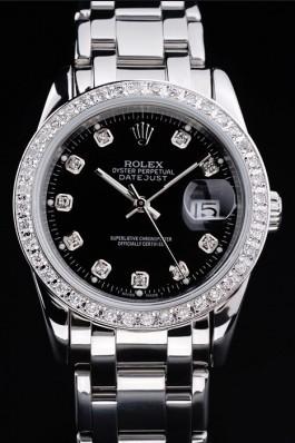 Rolex DateJust Black Dial Diamond Bezel Stainless Steel Bracelet Replica Rolex Datejust