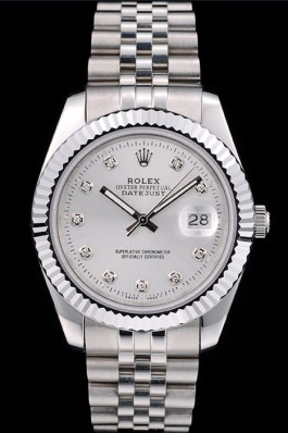 Rolex DateJust Stainless Steel Ribbed Bezel Silver Dial 41977 Replica Rolex Datejust