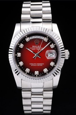 Rolex Day-Date Polished Stainless Steel Two Tone Red Dial Rolex Replica Aaa