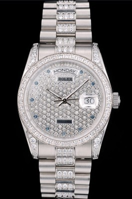 Rolex DayDate Diamond Plated Stainless Steel Bracelet Diamond Plated Dial 41986 Rolex Replica Aaa