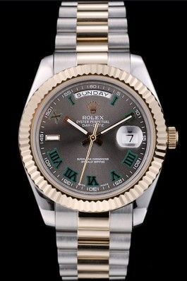 Rolex DayDate Grey Dial Dual Colored Stainless Steel Strap 41981 Rolex Replica Aaa