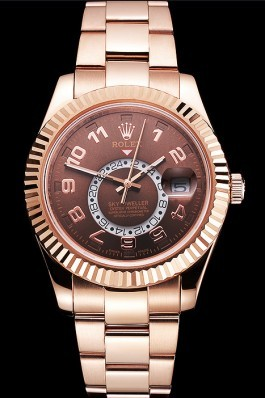 Rolex Sky Dweller Brown Dial Rose Gold Case Ad Bracelet Cheap Replica Rolex