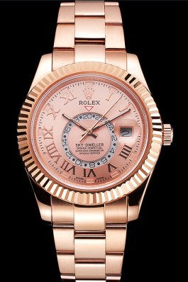 Rolex Sky Dweller Rose Gold Dial Rose Gold Case And Bracelet Cheap Replica Rolex