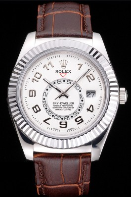 Rolex Sky Dweller White Dial Stainless Steel Case Brown Leather Strap Cheap Replica Rolex