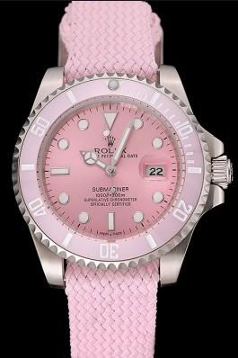 Rolex Submariner Pink Dial Pink Bezel Pink Fabric Bracelet 1453866 Rolex Submariner Replica