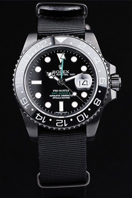 Rolex Swiss GMT Master II Pro-Hunter Black Fabric Strap Black Dial Rolex Replica Gmt