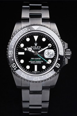 Rolex Swiss GMT Master II Pro-Hunter Black Steel Strap Black Dial Rolex Replica Gmt