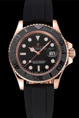 Rolex Yacht Master Black Dial And Bezel Everose Dial Oysterflex Bracelet Replica Rolex