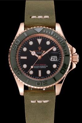 Rolex Yacht Master Black Dial Green Bezel Rose Gold Case Green Leather Bracelet 1453862 Replica Rolex