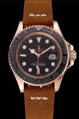 Rolex Yacht Master Black Dial Rose Gold Case Brown Leather Bracelet 1453861 Replica Rolex
