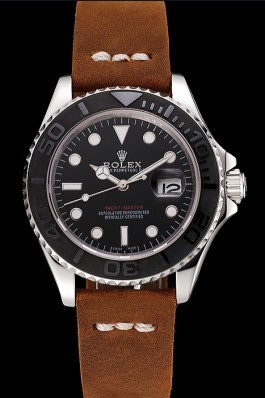 Rolex Yacht Master Black Dial Silver Case Brown Leather Bracelet 1453859 Replica Rolex