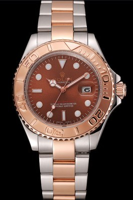 Rolex Yacht Master Rose Gold Dial Two Tone Stainless Steel Bracelet 1453864 Replica Rolex