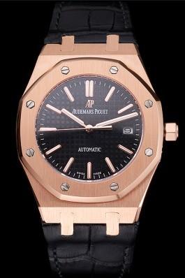 Swiss Audemars Piguet Royal Oak Black Dial Gold Case Black Leather Strap Piguet Replica