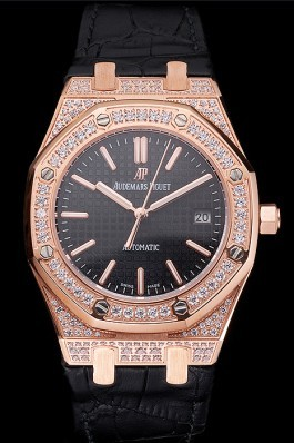 Swiss Audemars Piguet Royal Oak Black Dial Gold Case With Diamonds Black Leather Strap Piguet Replica