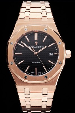 Swiss Audemars Piguet Royal Oak Black Dial Rose Gold Case And Bracelet Piguet Replica