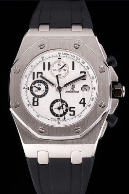 Swiss Audemars Piguet Royal Oak Offshore White Dial Stainless Steel Case Black Rubber Strap 622853 Audemars Piguet Royal Oak Replica Aaa