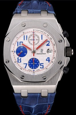 Swiss Audemars Piguet Royal Oak Offshore White Dial Stainless Steel Case Blue Leather Strap 622850 Audemars Piguet Royal Oak Replica Aaa