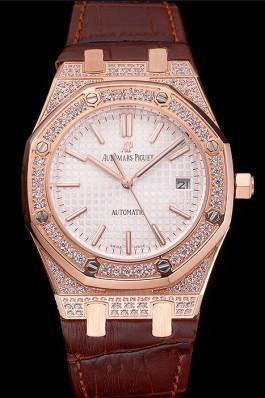 Swiss Audemars Piguet Royal Oak White Dial Gold Case With Diamonds Brown Leather Strap Piguet Replica