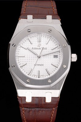 Swiss Audemars Piguet Royal Oak White Dial Stainless Steel Case Brown Leather Strap Piguet Replica