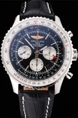 Swiss Breitling Navitimer Black Dial Stainless Stell Case Black Leather Strap Replica Designer Watches