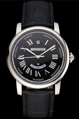 Swiss Cartier Rotonde Annual Calendar Black Dial Stainless Steel Case Black Leather Strap Cartier Replica