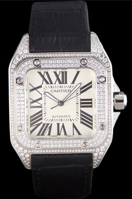 Swiss Cartier Santos Silver Bezel with Diamonds and Black Leather Strap sct47 621531 Cartier Replica