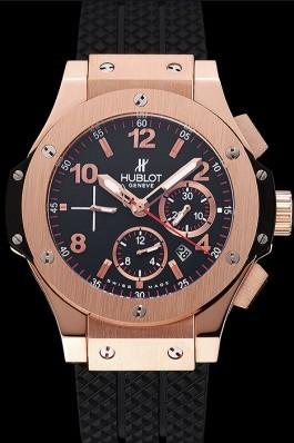 Swiss Hublot Big Bang Black Dial Rose Gold Case Black Rubber Bracelet 1453898 Replica Watch Hublot