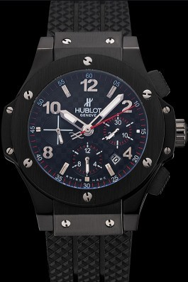 Swiss Hublot Big Bang Carbon Effect Dial Black Case Black Rubber Bracelet 1453902 Replica Watch Hublot