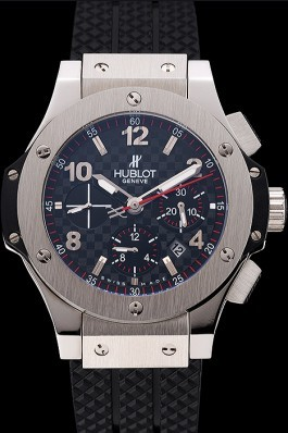 Swiss Hublot Big Bang Carbon Effect Dial Silver Case Black Rubber Bracelet 1453899 Replica Watch Hublot