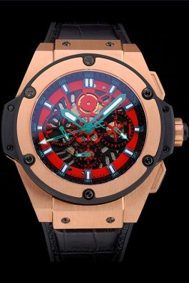 Swiss Hublot Big Bang Limited Edition Black And Red Dial Gold Case Black Leather Strap 62289 Replica Watch Hublot