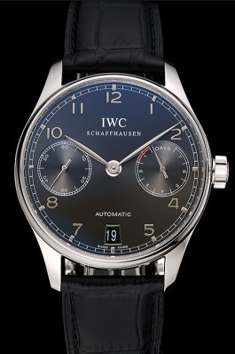 Swiss IWC Portuguese Black Dial Black Subdials Silver Case Black Leather Bracelet 1453906 Iwc Replica