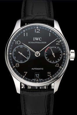 Swiss IWC Portuguese Black Dial Silver Case Black Leather Bracelet 1453903 Iwc Replica